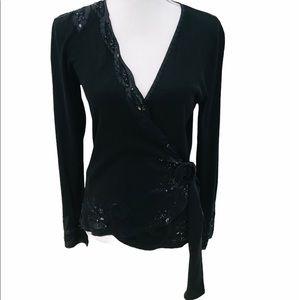 Nougat London embellished wrap v neck knit top